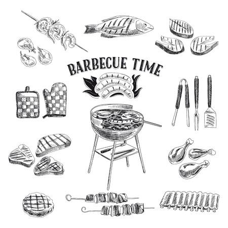 Vector ensemble d'éléments de Barbecue et Grill. Vector illustration de style de croquis. Tiré par la main des éléments de conception. Vecteurs