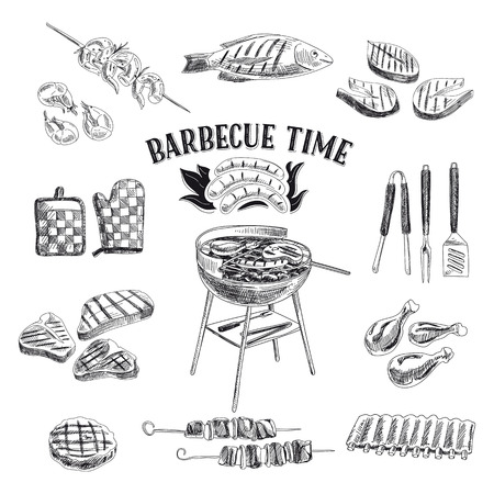 meat on grill: Vector set of barbecue and grill elements. Vector illustration in sketch style. Hand drawn design elements.