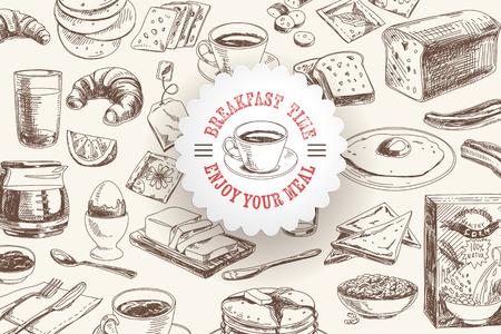 Vector hand drawn breakfast and branch background set. Menu illustration.  イラスト・ベクター素材