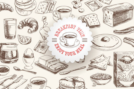 Wektor ręcznie rysowane śniadanie i zestaw oddział tła. Ilustracja menu.