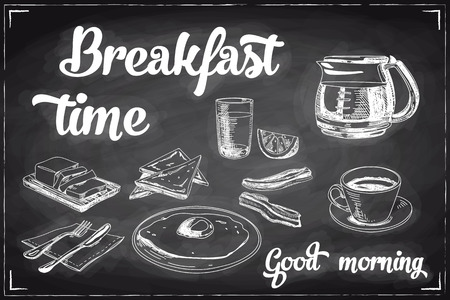 Vector hand drawn breakfast and branch background on chalkboard. Menu illustration. Ilustração