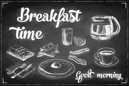 prima colazione: Vector mano la prima colazione e il ramo sfondo disegnato sulla lavagna. Illustrazione menu.