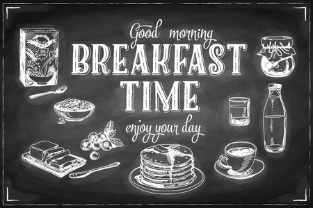 Vector hand drawn breakfast and branch background on chalkboard. Menu illustration. Vettoriali