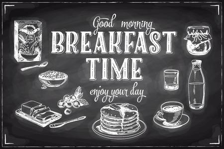 colazione: Vector mano la prima colazione e il ramo sfondo disegnato sulla lavagna. Illustrazione menu.