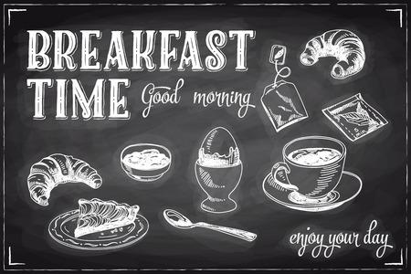 breakfast: Vector dibujado a mano el desayuno y el fondo de la rama en la pizarra. Ilustración Menú.