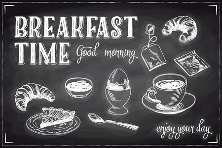 drinking coffee: Vector hand drawn breakfast and branch background on chalkboard. Menu illustration. Illustration