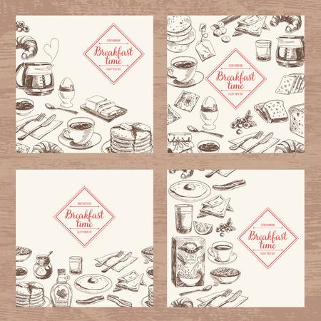 手描きの朝食とブランチ背景セットをベクトルします。メニューの図。  イラスト・ベクター素材