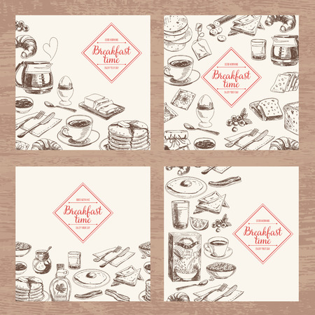 breakfast cup: Vector hand drawn breakfast and branch background set. Menu illustration. Illustration