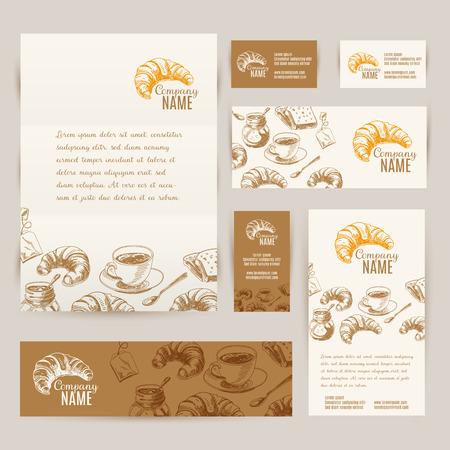 Vector hand drawn breakfast and branch backgrounds set. Menu illustration.