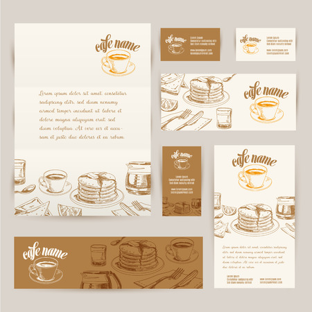 logo de comida: Desayuno dibujado mano del vector y antecedentes sucursales establecidas. Ilustración Menú.