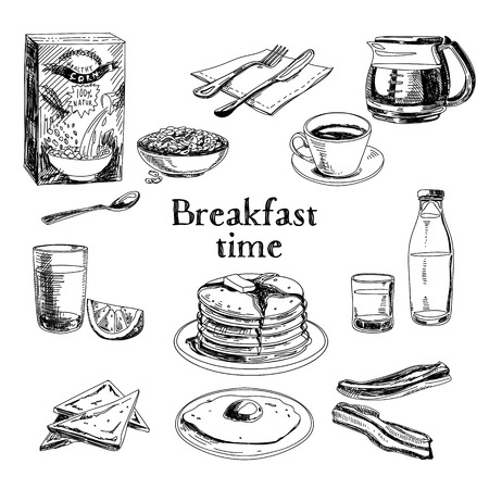 Vector breakfast hand drawn set. Vintage illustration. Sketch. Vectores