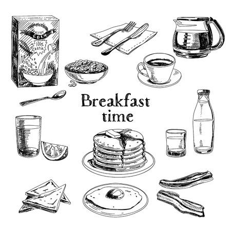 huevos fritos: Desayuno vectorial Conjunto drenado mano. Ilustraci�n de la vendimia. Sketch. Vectores