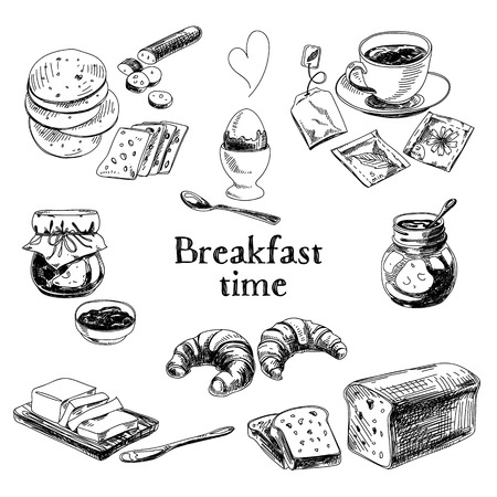 Vector breakfast hand drawn set. Vintage illustration. Sketch.  イラスト・ベクター素材