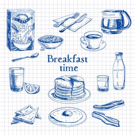 ベクトル朝食手でセットを描画します。ヴィンテージのイラスト。スケッチ。