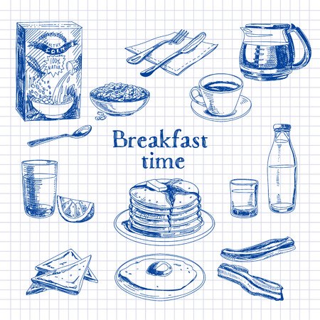 food illustration: Vector breakfast hand drawn set. Vintage illustration. Sketch. Illustration