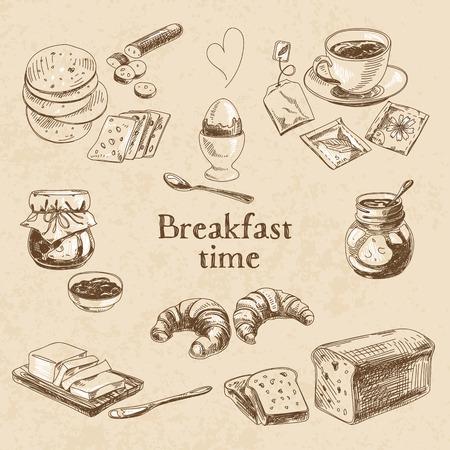 mantequilla: Desayuno vectorial Conjunto drenado mano. Ilustraci�n de la vendimia. Sketch. Vectores