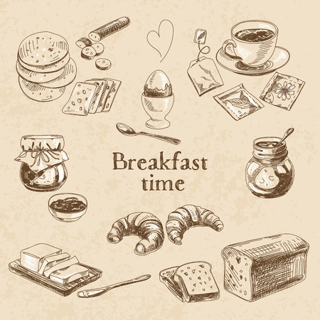 Vector breakfast hand getekende te stellen. Vintage illustratie. Schets. Stock Illustratie