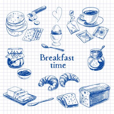 Desayuno vectorial Conjunto drenado mano. Ilustración de la vendimia. Sketch. Foto de archivo - 43333182