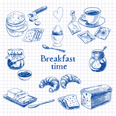 breakfast: Desayuno vectorial Conjunto drenado mano. Ilustración de la vendimia. Sketch. Vectores