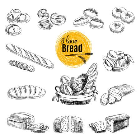 boceto: Vector conjunto de pan, productos de panader�a. Ilustraci�n del vector en estilo de dibujo. Dibujado a mano elementos de dise�o. Vectores
