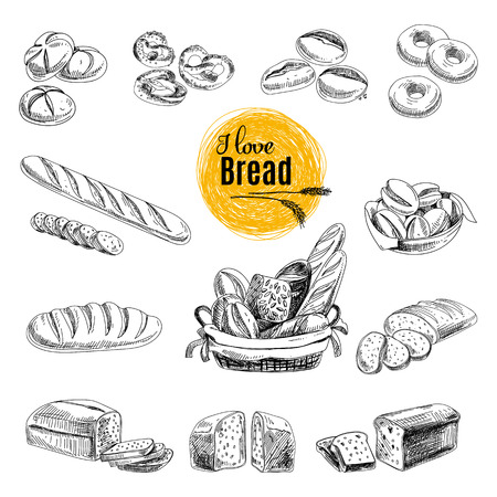product background: Vector set of Bread, bakery products. Vector illustration in sketch style. Hand drawn design elements.