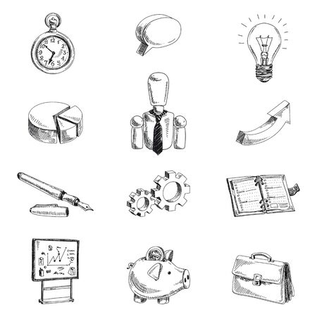 business hand: Vector business hand drawn set. Sketch. Icon collection. Illustration