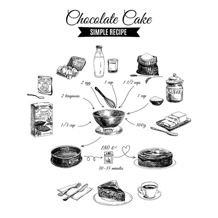 Vector hand drawn chocolate cake illustration. Sketch. Simple chocolate cake recipe.