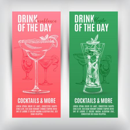 Bannières Vector set avec des cocktails dessinés à la main. Menu Cocktails. Banque d'images - 43333189