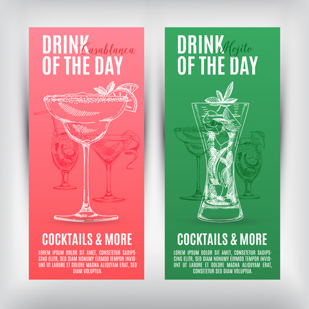 hour glass: Vector banners set  with hand drawn cocktails. Cocktails menu.