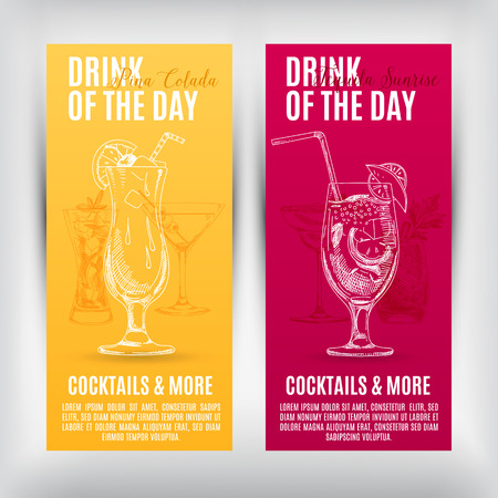 Vector banners set  with hand drawn cocktails. Cocktails menu.