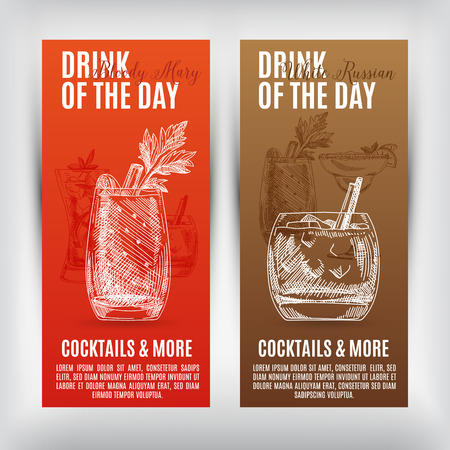 happy hour: Vector banners set  with hand drawn cocktails. Cocktails menu.