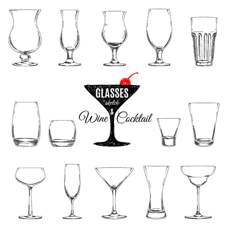 Vector set of different glasses for different drinks, hand drawn illustration.