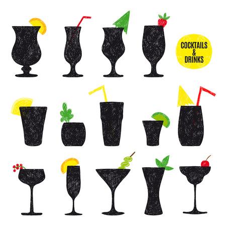 Vector hand getrokken set van cocktails en alcoholische dranken. Schetsen.