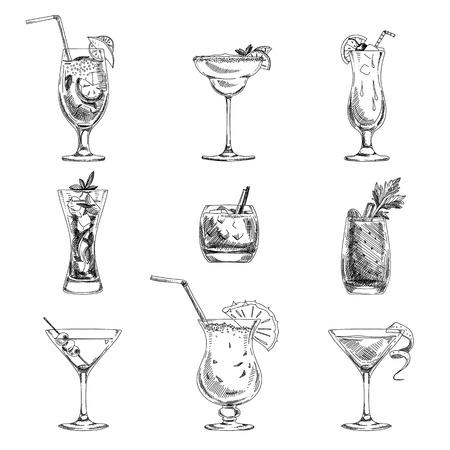 drinking straw: Vector hand drawn set of cocktails and alcohol drinks. Sketch.