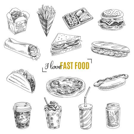 음식: 패스트 푸드의 집합입니다. 스케치 스타일에서 벡터 일러스트 레이 션. 손으로 디자인 요소를 그려.