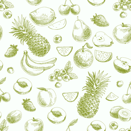 Hand drawn vector seamless pattern with fruits and barries. Vintage. Sketch.