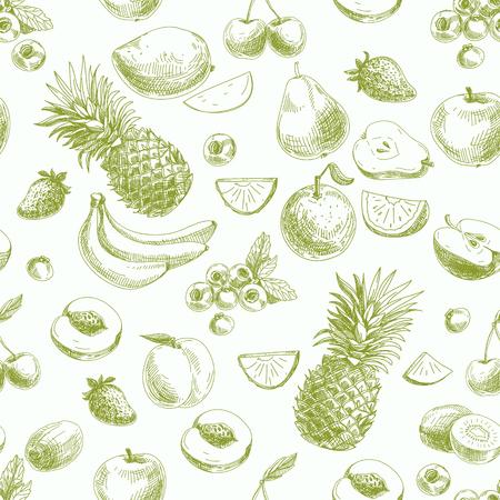 frutas tropicales: Mano vector dibujado sin patrón, con frutas y barries. Vintage. Sketch. Vectores