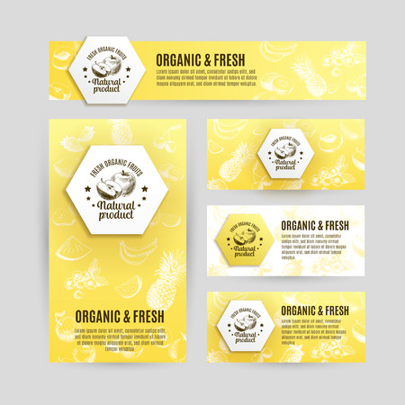 mango leaf: Vector banners set  with hand drawn fruits. Organic and fresh fruits illustration.