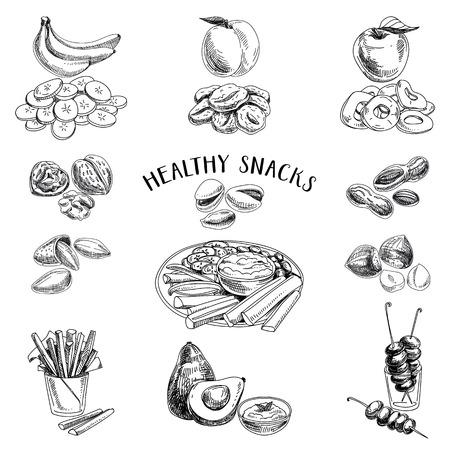 dibujo: Vector conjunto de bocadillos saludables. Comida saludable. Ilustración del vector en estilo de dibujo. Dibujado a mano elementos de diseño. Vectores