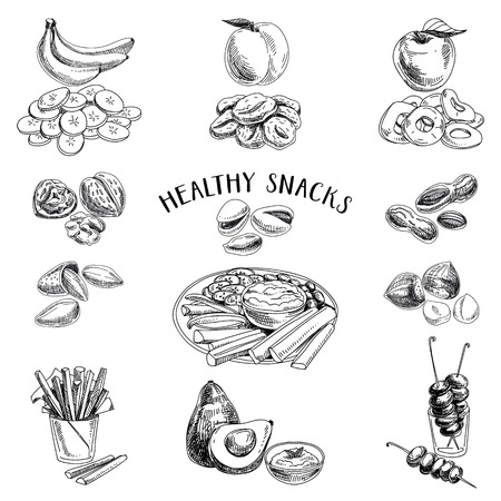 Wektor zestaw zdrowych przekąsek. Zdrowa żywność. Ilustracji wektorowych w stylu szkicu. Ręcznie rysowane elementy projektu. Ilustracje wektorowe