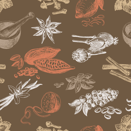 orange peel clove: Vector seamless pattern with spices. Repeating background. Vintage Illustration.