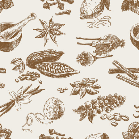 cocoa: Vector seamless pattern with spices. Repeating background. Vintage Illustration.
