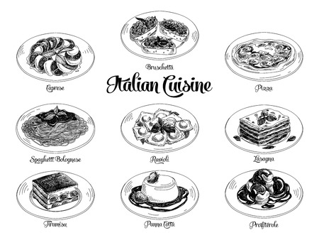 cuisine: Vector hand drawn illustration with italian food. Sketch.