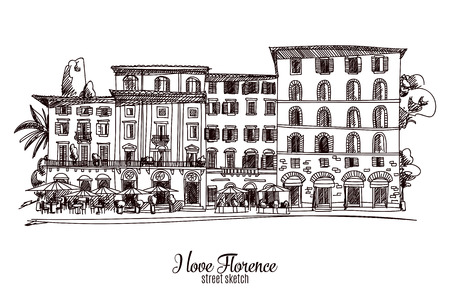 florence italy: Hand drawn vector illustration. Florence. Street sketch. Vintage. Illustration