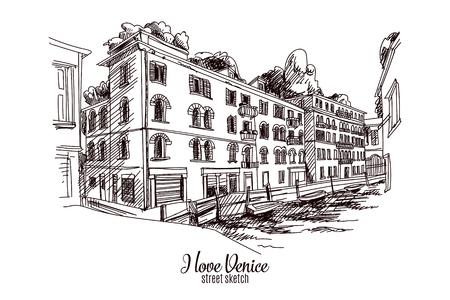 Tiré par la main illustration vectorielle. Venise. Croquis Street. Vintage. Banque d'images - 43333364