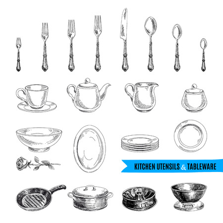 vintage cutlery: Vector hand drawn illustration with kitchen tools. Sketch.