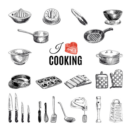 cooking utensils: Vector hand drawn illustration with kitchen tools. Sketch.