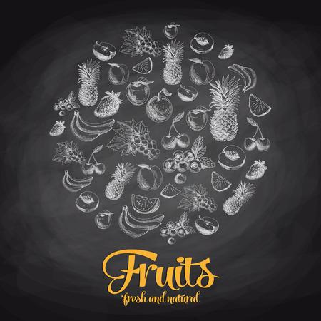 手には、果物や果実のベクトル図が描かれました。スケッチ。黒板  イラスト・ベクター素材