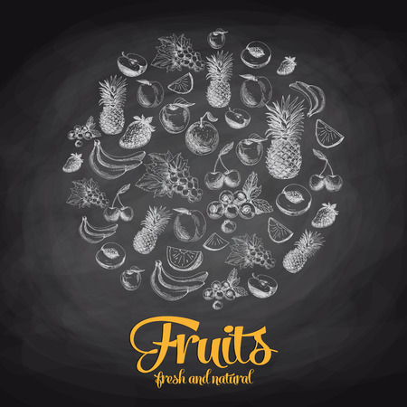 Hand drawn vector illustration with fruits and berries. Sketch. Chalkboard
