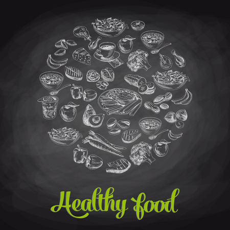 食べ物: 手には、健康的な食品のベクトル図が描かれました。スケッチ。黒板。